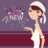 Nail products. A pretty girl and nail products royalty free illustration