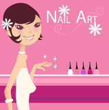 Nail products. A pretty girl and nail products stock illustration