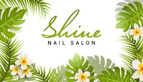 Nail salon business card design. Manicure beauty salon banner with tropic leaves and flower.  vector illustration