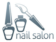 Nail salon concept. An illustration of bottles of nail varnish and brush, nail salon concept Stock Image