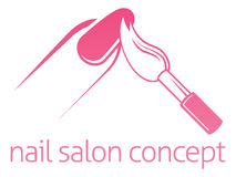 Nail Salon Concept. Nail salon technician, nail bar or manicurist concept of a nail being painted with a brush Royalty Free Stock Images
