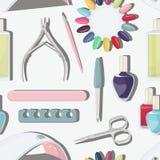 Nail salon set pattern. Manicure-pedicure set with nails, nail polish, scissors, manicure equipment Royalty Free Stock Photography