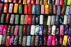 Nail samples row stock photos