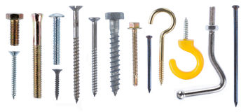 Nail and screw. Isolated over white background Stock Photography