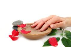 Nail soak. A nail soak with dish Royalty Free Stock Photo