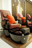 Nail spa chair. The big nail spa chair in the shop ready to service you stock images