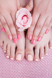 Nail spa procedure. Manicure and pedicure stock photos