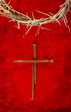 Nail Spike Cross with Crown of Thorns. Nail spike cross with a crown of thorns Stock Image