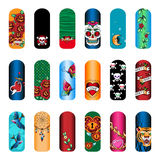 Nail stickers. Set of vintage tattoo nail art designs for beauty salon stock illustration