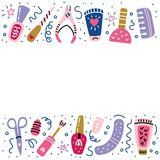 Nail studio manicure pedicure banner polish sign stock illustration