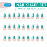 27 nail-style flat design Stock Image