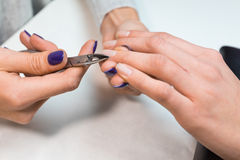 Nail technician perfom procedure hand care Stock Images