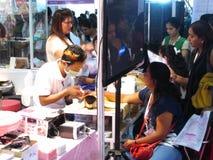 Nail treatment. At professional beauty expo,Mumbai. Date- 6th October 2015 stock photo