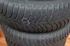 Nail in tyre Royalty Free Stock Image