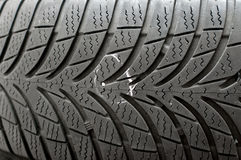 Nail in tyre Stock Photo