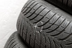 Nail in tyre Stock Images