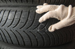 Nail in tyre Royalty Free Stock Photos