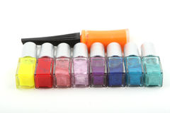 Nail varnish. Bottles of nail varnish on a white background Royalty Free Stock Images