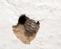 A nail in the wall. macro. Photos in the studio stock image