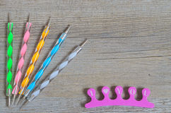 Nailart tool set on wooden table Royalty Free Stock Image