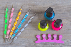 Nailart tool set on wooden table Stock Photos