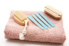Nailbrush and nail file Royalty Free Stock Photography