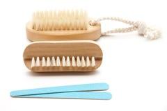 Nailbrush and nail file Royalty Free Stock Images