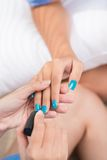 Nailcare. Process of doing manicure close-up Stock Images