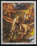 Nailing the Christ to the Cross by Albrecht Durer. RUSSIA KALININGRAD, 19 APRIL 2017: stamp printed by Paraguay, shows Painting Nailing the Christ to the Cross Stock Photography