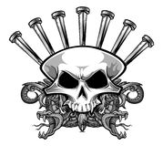 Nailing skull. Vector illustration of skull with nails and ornamental snakes Stock Photo
