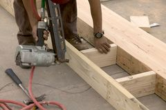 Nailing studs. Construction of celing joist Royalty Free Stock Images