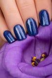 Nailpolish azul Foto de archivo