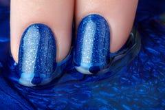 Nailpolish azul Imagen de archivo libre de regalías