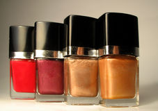 Nailpolish bottles. Different shades of nailpolish Royalty Free Stock Photos