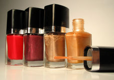 Nailpolish bottles Royalty Free Stock Images