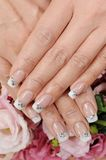 Nails. Woman hand with different nails royalty free stock photo