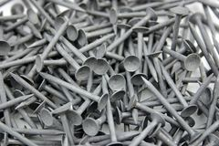 Nails. A pile of galvanised drywall nails Royalty Free Stock Photography