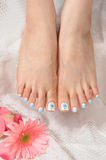 Nails. Woman foot with different nails stock image