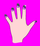 Nails. Vector illustration showing a hand with nails painted in a very beautiful and original Stock Images