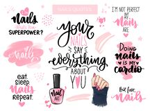 Free Nails And Manicure Set. Inspiration Quote For Nail Bar, Beauty Salon, Manicurist Stock Images - 172453394