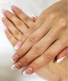 Nails design gel art flowers. Nails art gel for spring stock images