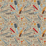 Nails and body design instrument seamless pattern Stock Photography