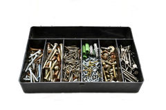 Nails, bolts, screws. Washers in a box Royalty Free Stock Photos
