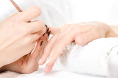 Nails care. Women making manicure. Nails care Royalty Free Stock Images