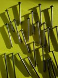 Nails. Close view of steel nails in a  background Stock Photography