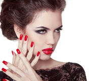 Nails closeup. Manicure and Makeup. Retro woman with red lips. M Stock Photo