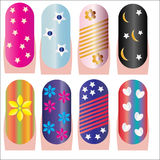 Nails decorative. Set of eight beautiful and artistically manicured nails isolated on white background, vector Royalty Free Stock Photo