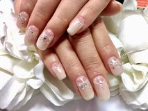 Nails design for bride. Nails art gel for wedding Royalty Free Stock Image