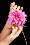 NAILS AND FLOWER Stock Photography