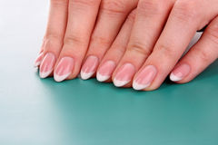 Nails with a French manicure Stock Images